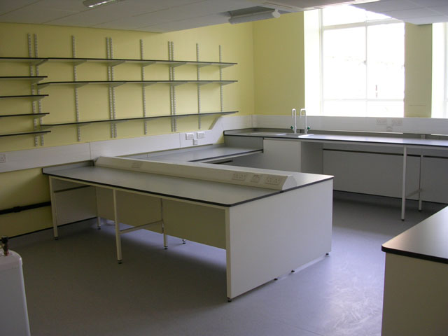 Lab desk at a Cambridge university science lab