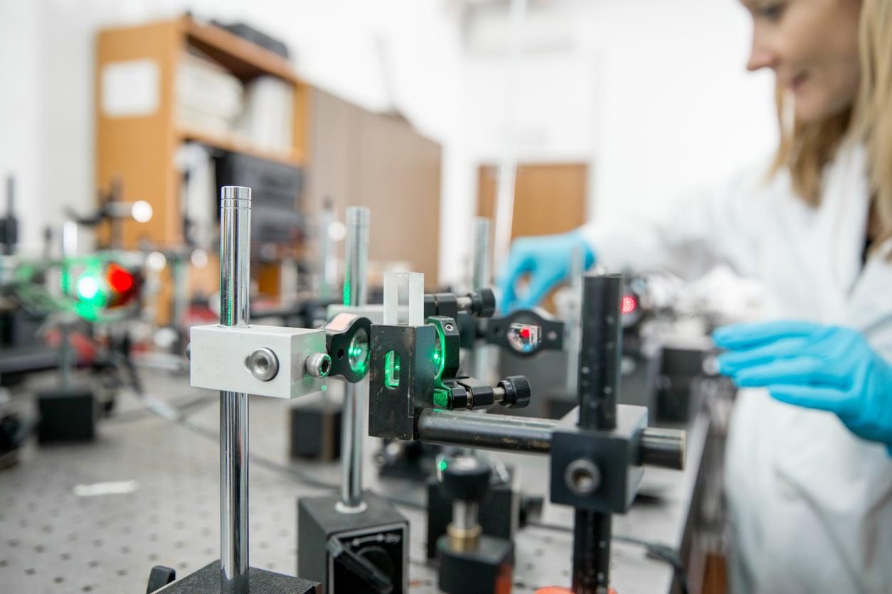 scientist conducting laser experiment