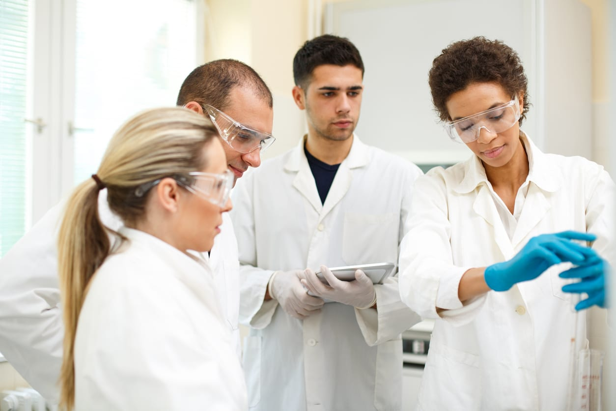 Group of young people in an laboratory