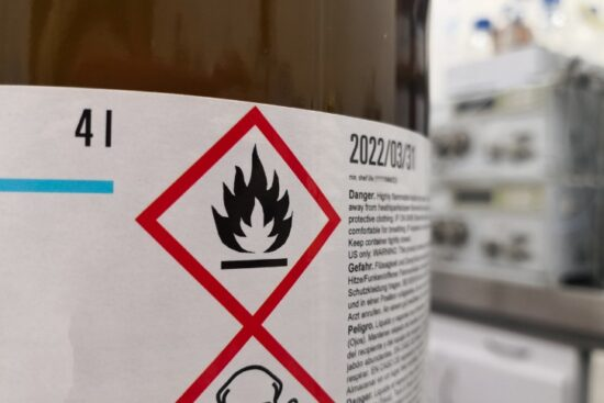 flammable chemical warning label